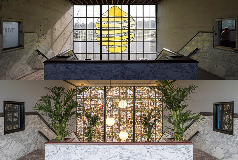 restauratie kantoor jongerius utrecht - glas in lood voor en na