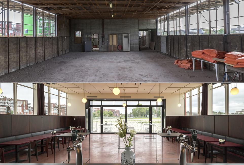 restauratie kantoor jongerius utrecht - grandcafé voor en na