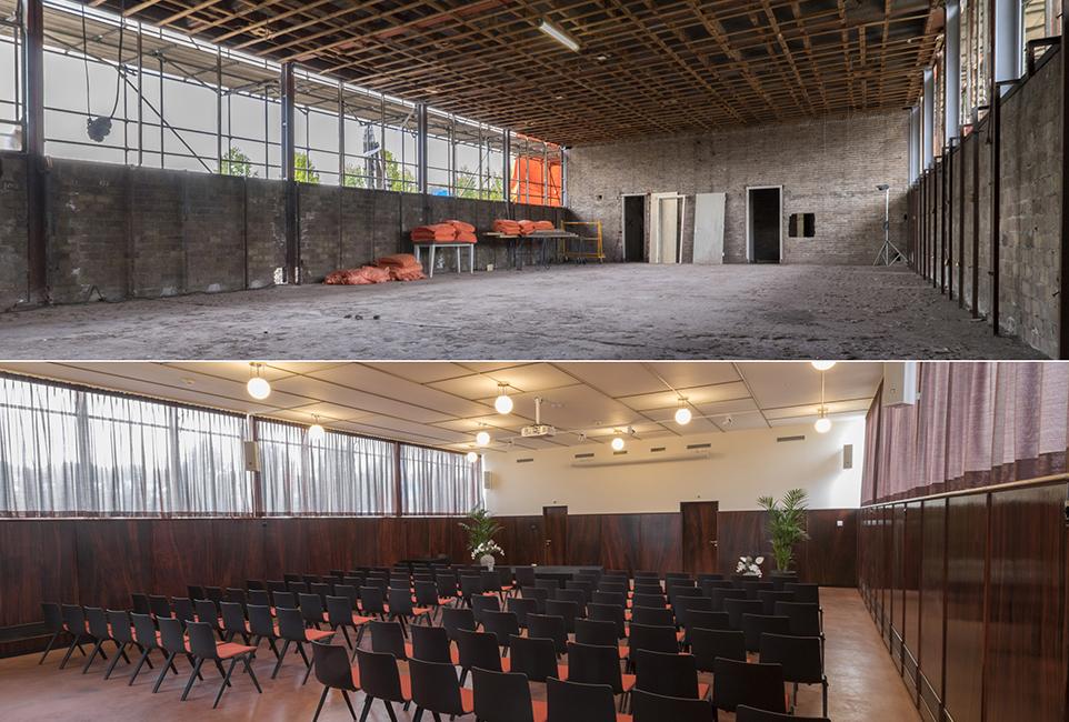 restauratie kantoor jongerius utrecht - zaal voor en na