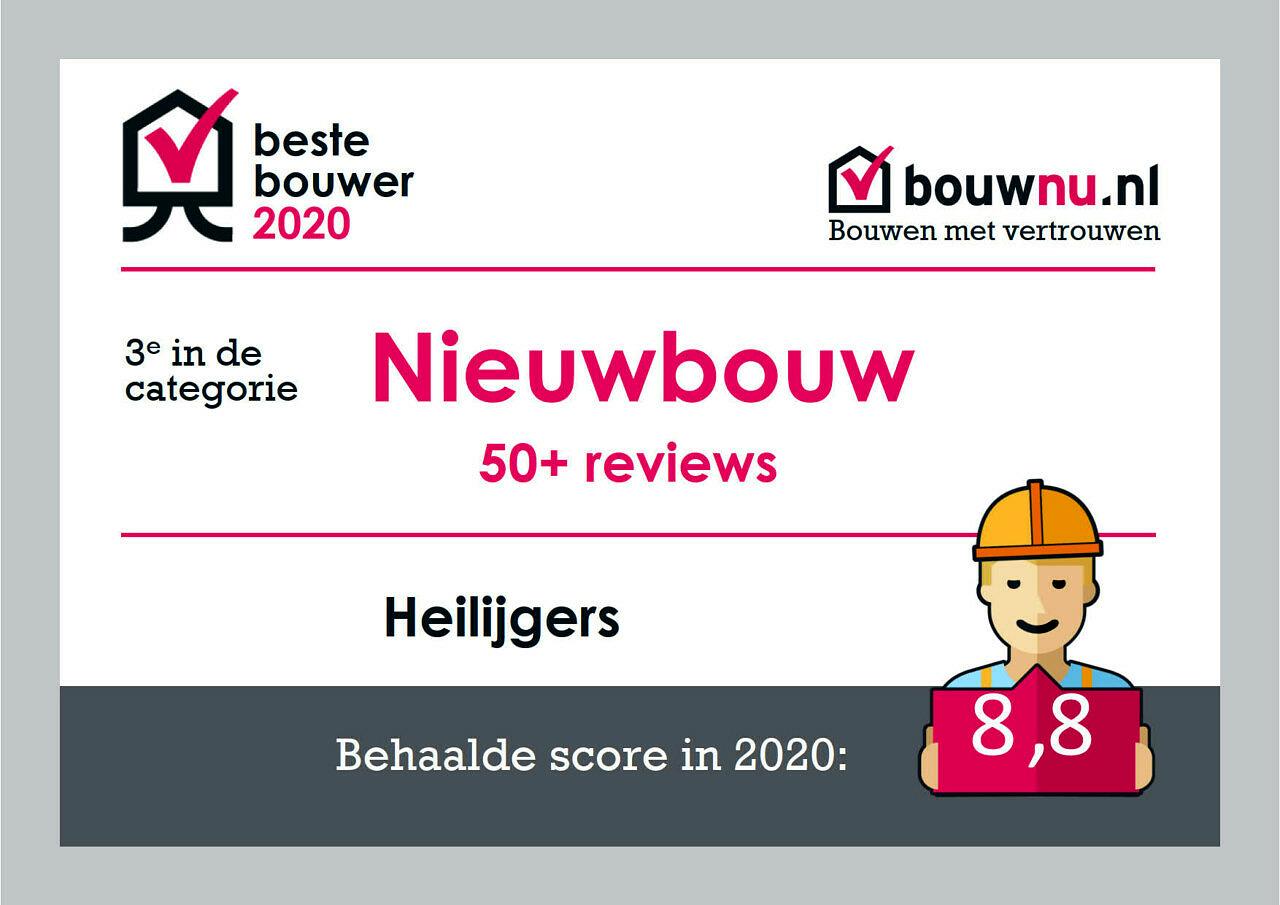 Certificaat Beste Bouwer 2020 boven de 50 3e Heilijgers